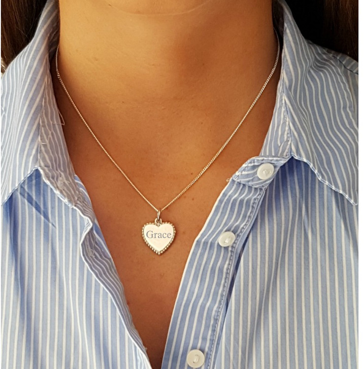 Silver heart necklace personalised