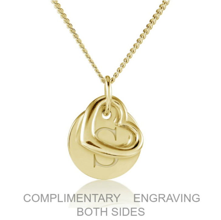 Personalised 18ct Yellow Gold Vermeil heart and disc.