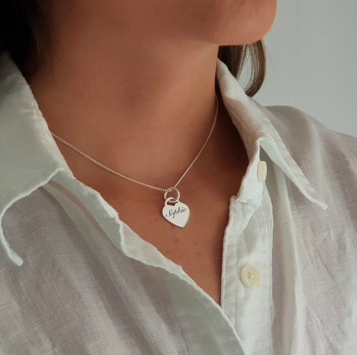 18th Birthday silver heart necklace personalised