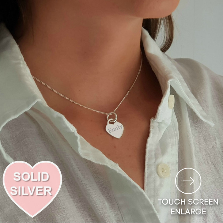 Solid Silver Personalised Heart Necklace.