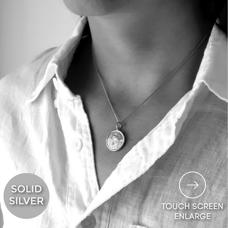 St. Christopher necklace personalised solid silver