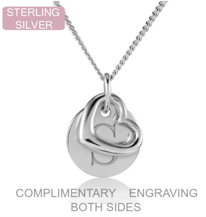 Silver disc and heart personalised name necklace
