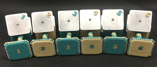Set of Leather and Metal Scent Articles.  Turquoise & Buck Tan Naked (Alternating Colors)