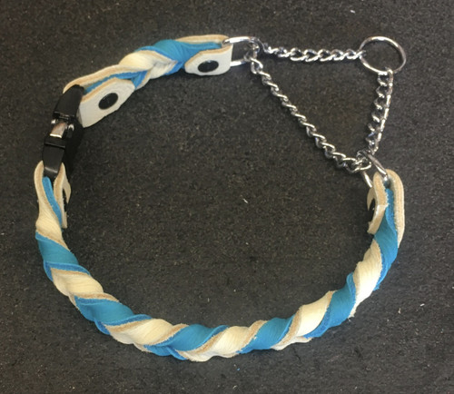 Braided Leather Martingale Collar with Buckle