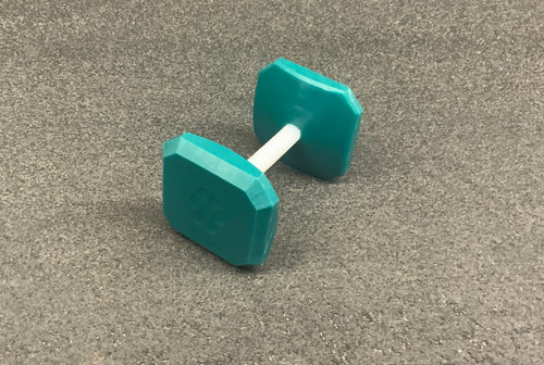 Pre-Made Plastic Dumbbell (Teal) with paw print on both sides
