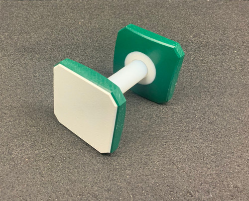 Pre-Made Plastic Dumbbell (White/Green/White) with both sides blank