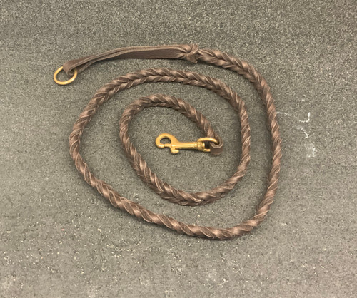 "54"" Bullhide Double Braided leather leash (Chocolate) with Brass Clip & Handle Ring"