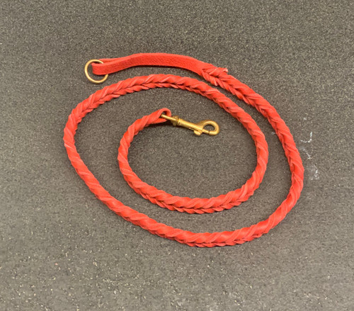 "48"" Bullhide Double Braided leather leash (Red) with Brass Clip & Handle Ring"