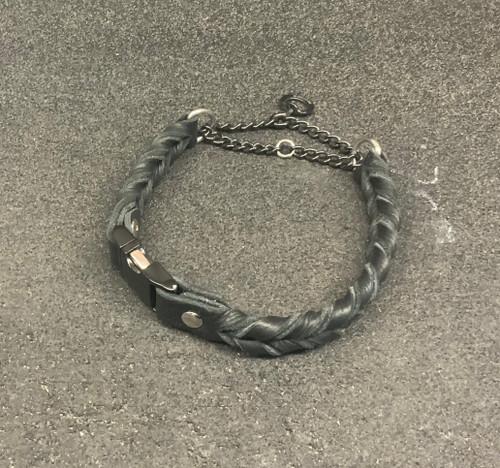 "17 1/2"" Bullhide double Braid Leather Collar (Black)"