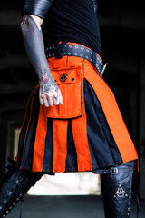 Limited Edition Versatta Hybrid Cargo Kilt in Emberglow Orange/Black