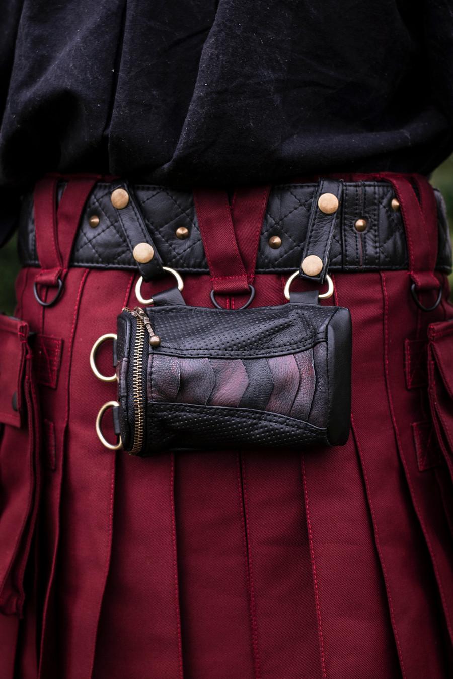Wallet Pocket with brass details attached to Myrmidon Belt