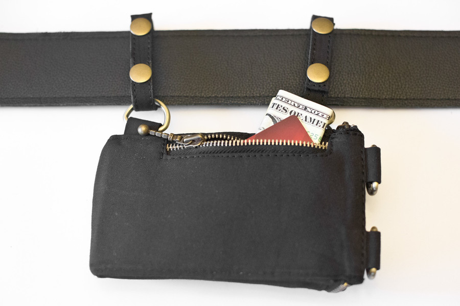 Wallet Pocket with brass details attached to generic belt