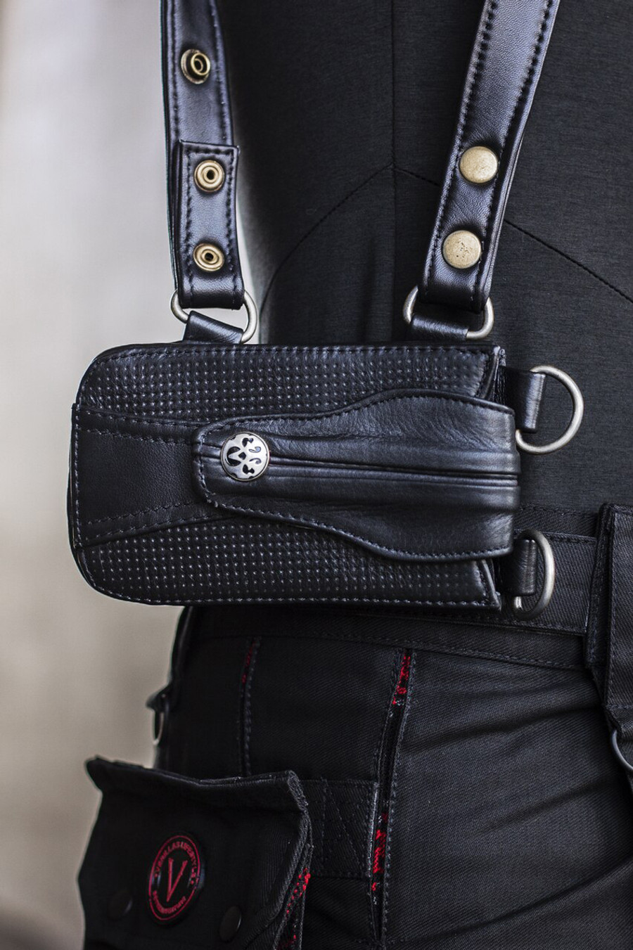 Leather Versatta Phone Pocket in Black w/ Silver Details attached to a Versatta Phone and Wallet Holster