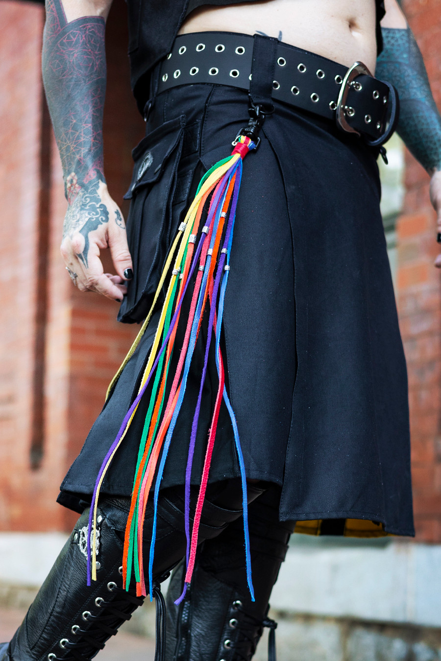 Kilt Tassel: Rainbow Pride on Non-Binary Pride Kilt