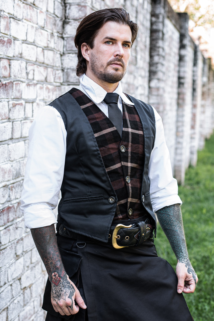 Relaxed Fit Tartan Layered Vest