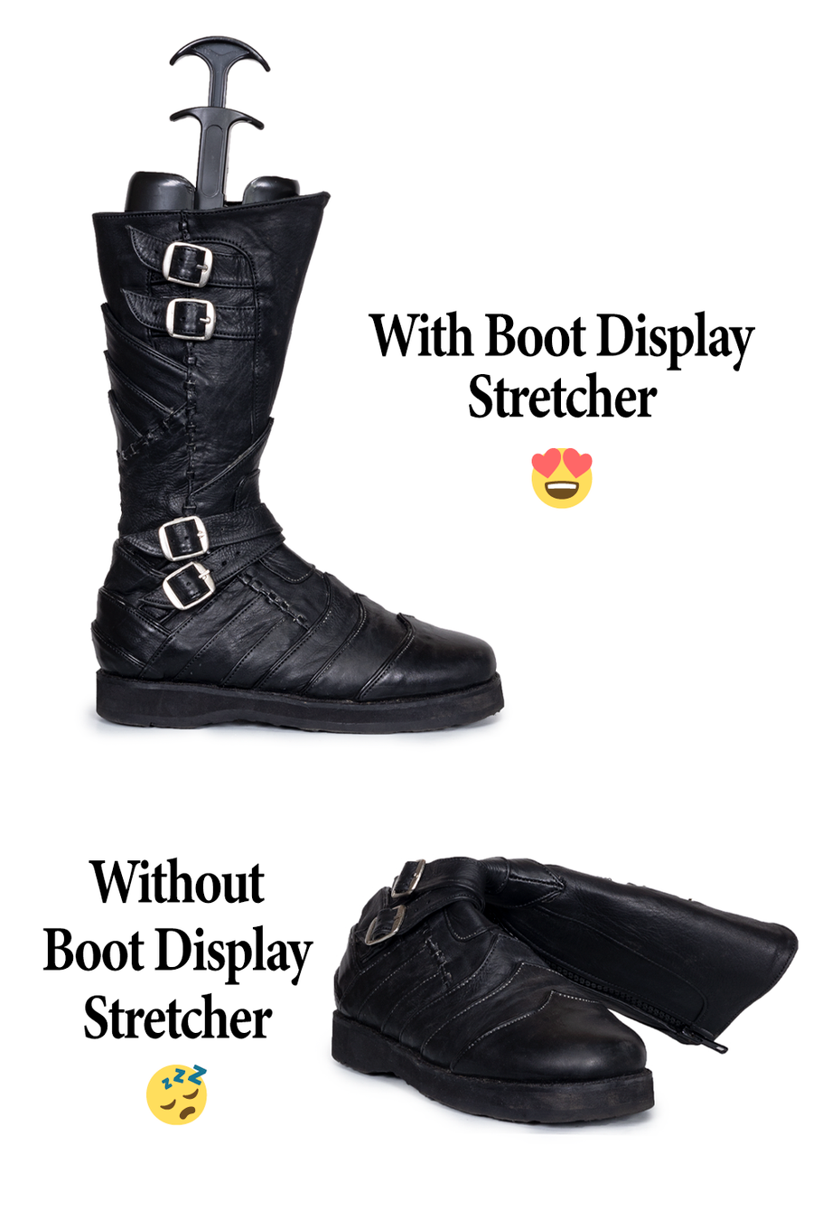 Vajra Moto Boot with and without Boot Display Stretcher