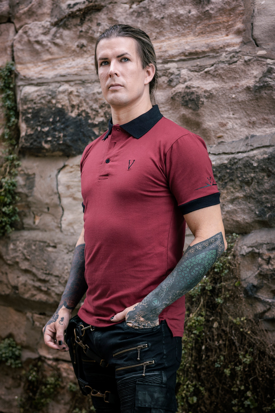 Deadlands Polo Shirt in Burgundy/Black, side view