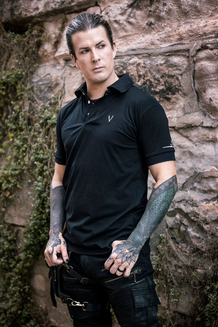 Deadlands Polo Shirt in Black, front view