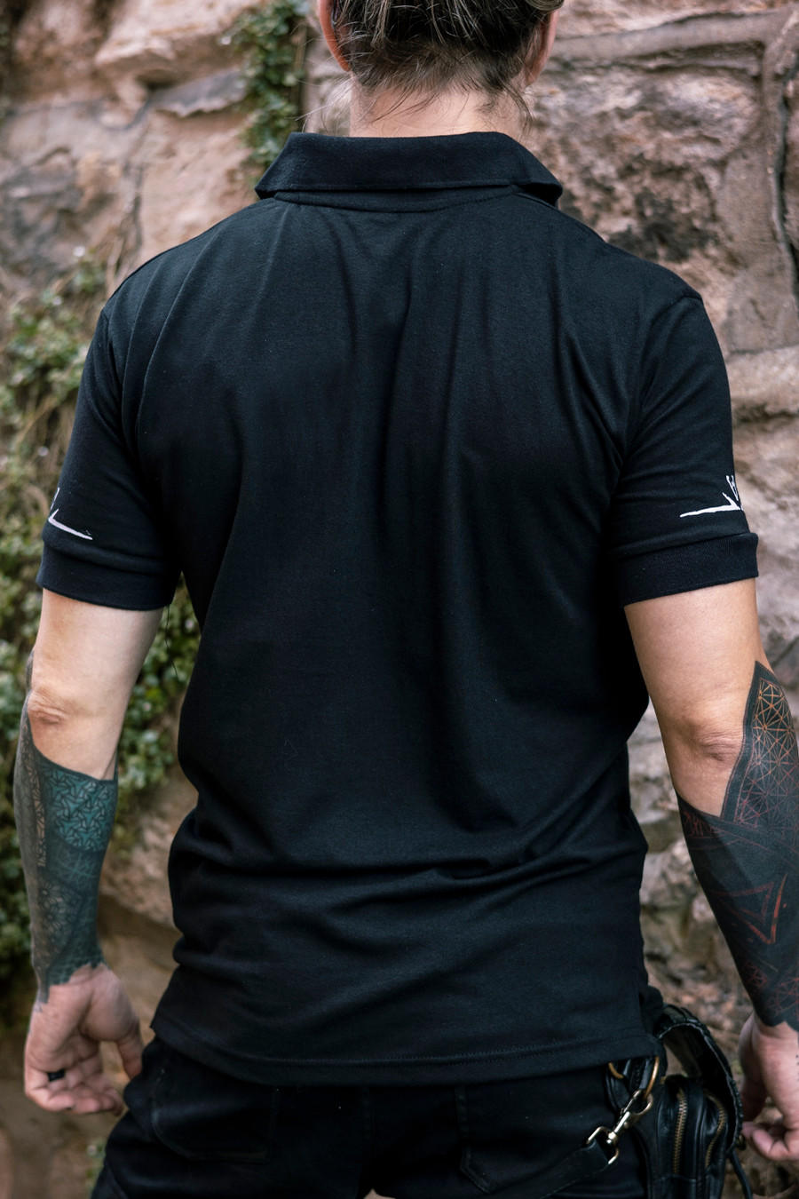 Deadlands Polo Shirt in Black, back view
