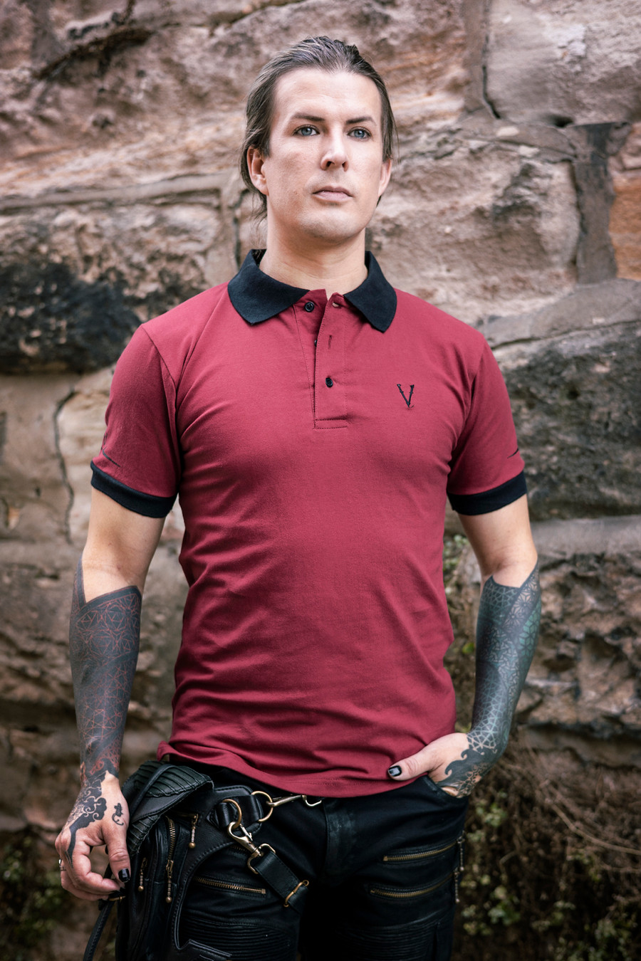 Deadlands Polo Shirt in Burgundy/Black, front view