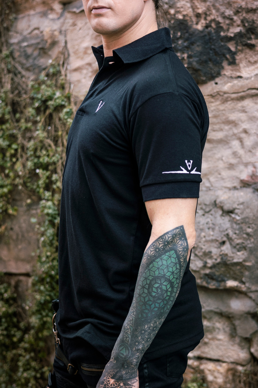 Deadlands Polo Shirt in Black, side view