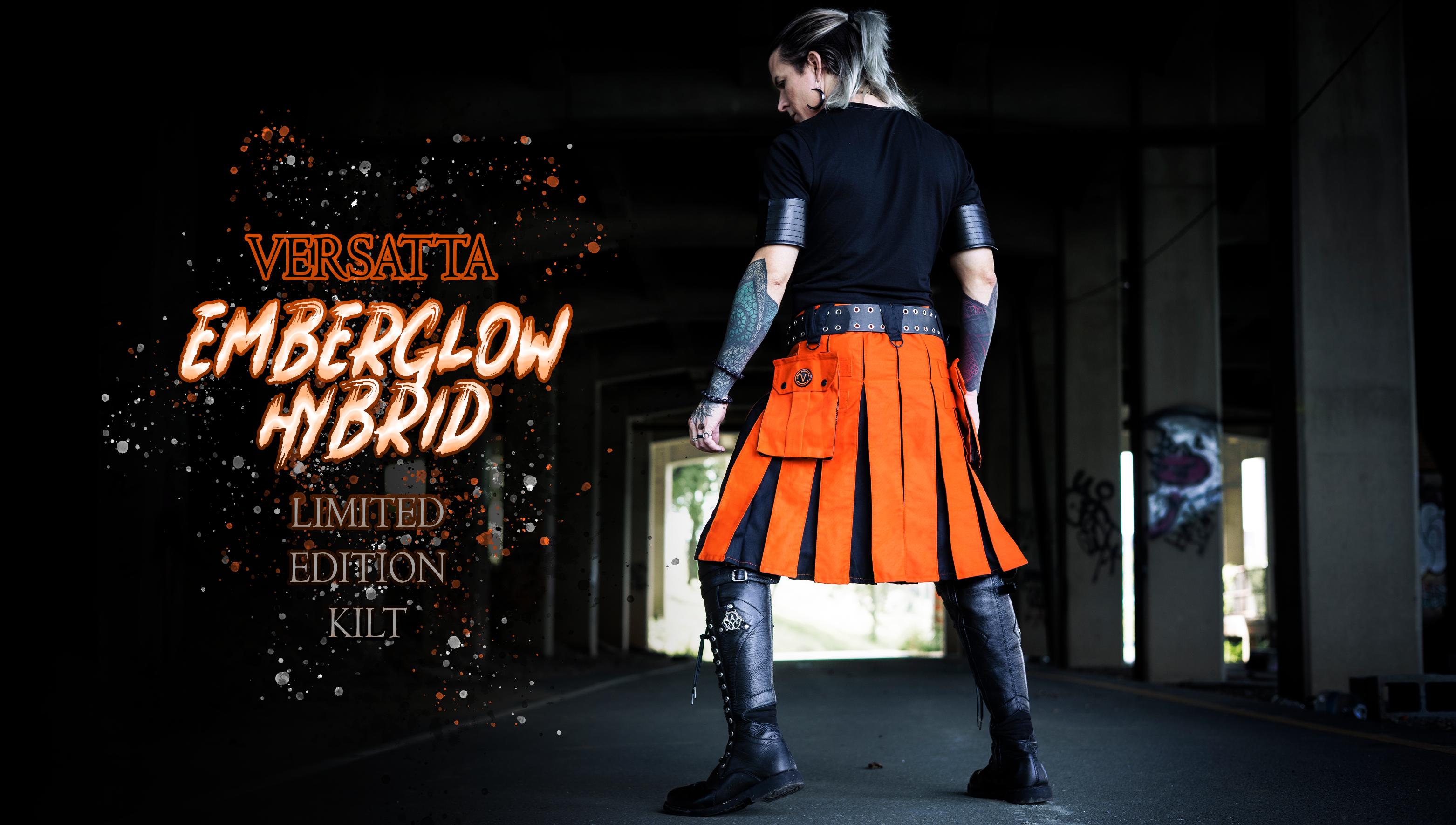 Verillas Versatta Emberglow Hybrid Kilt - Limited Edition Halloween Orange and Black Kilt