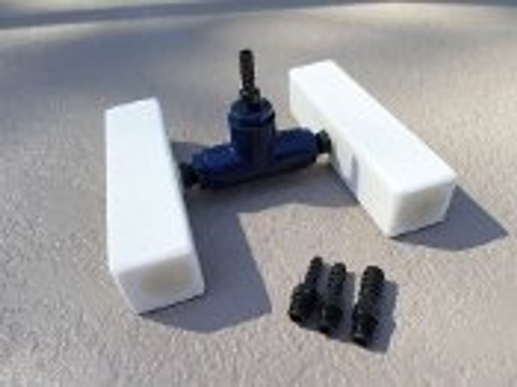 Fine pore diffuser manifold shown out of water.  This is a two stone manifold and shows the different connection options.