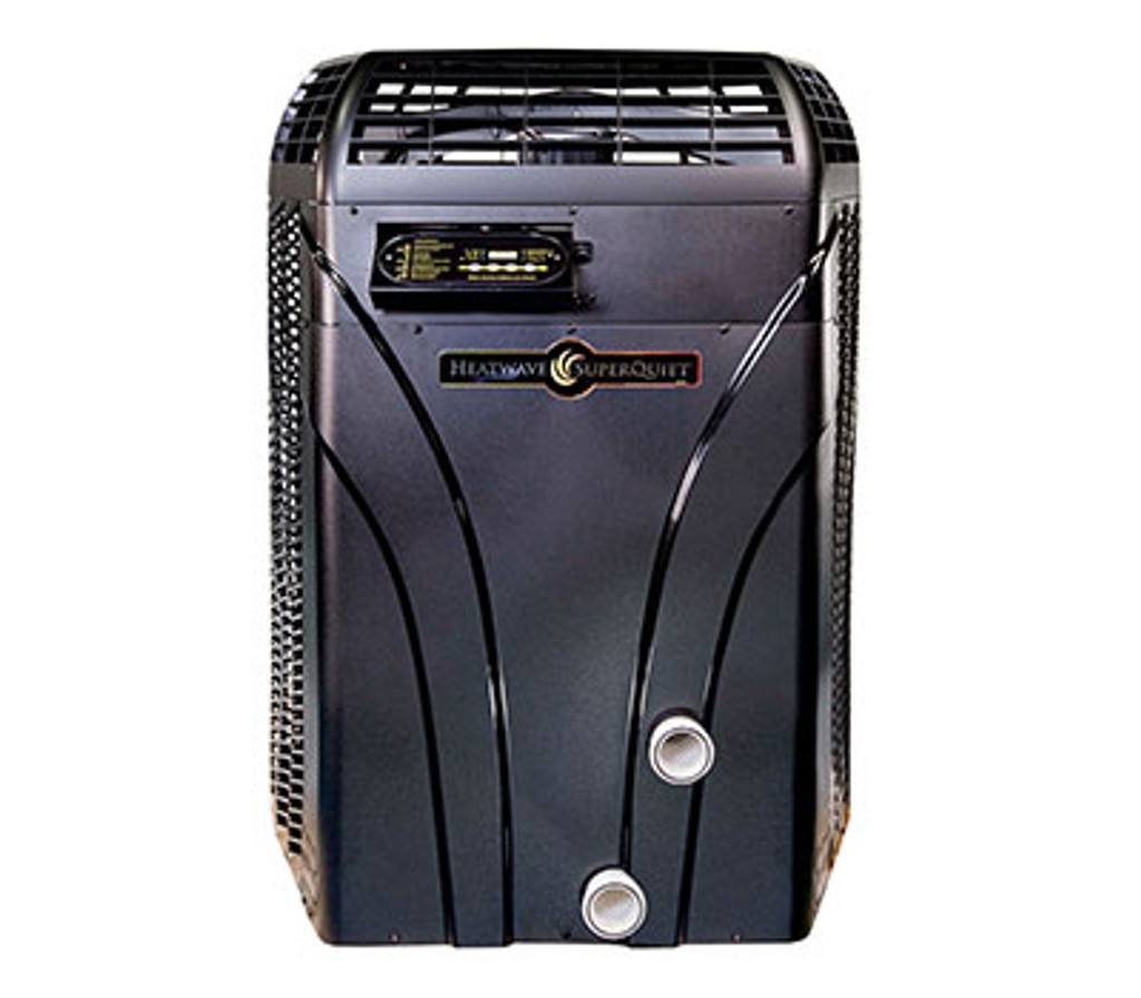 Heater shown from the front, black in color, with in/out connections and controls shown.