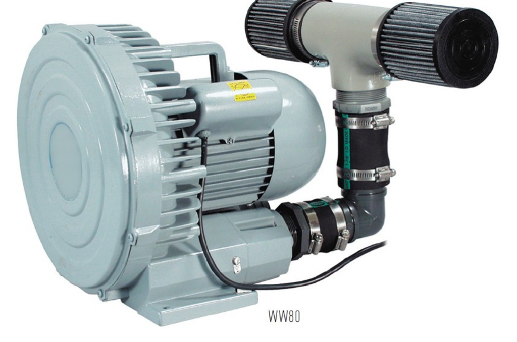 WW80 shown from the back showing double inlet filter connected.