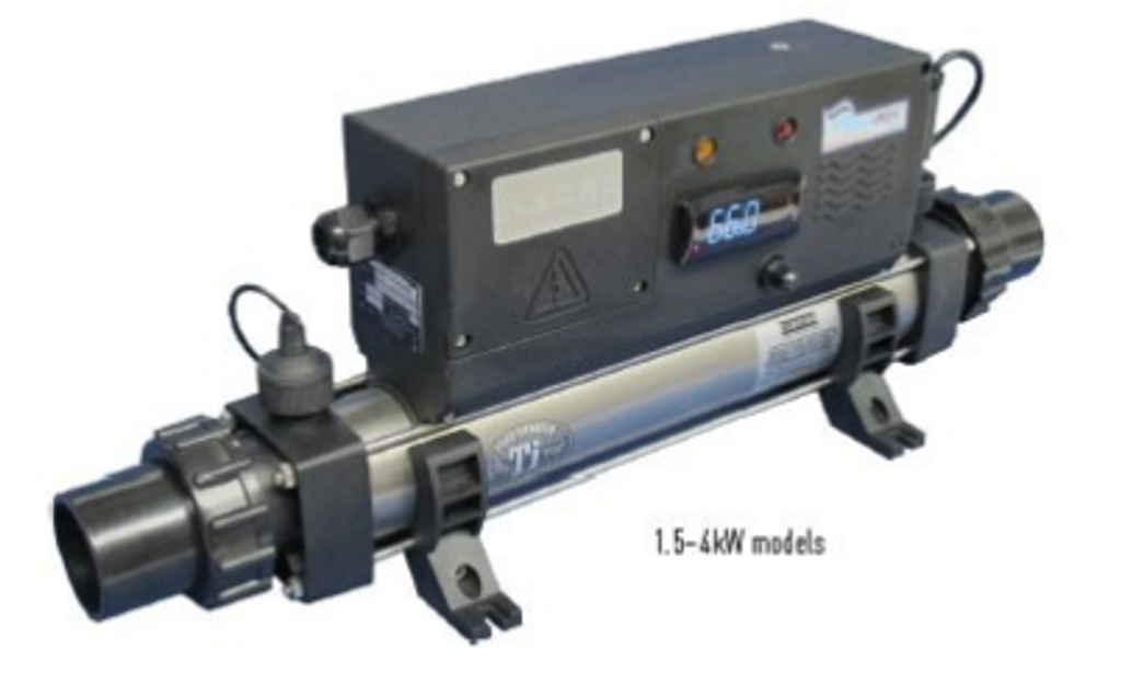 Heater shown at an angle.  This photo shows 1.5-4 kw models. Larger models have a different shape.