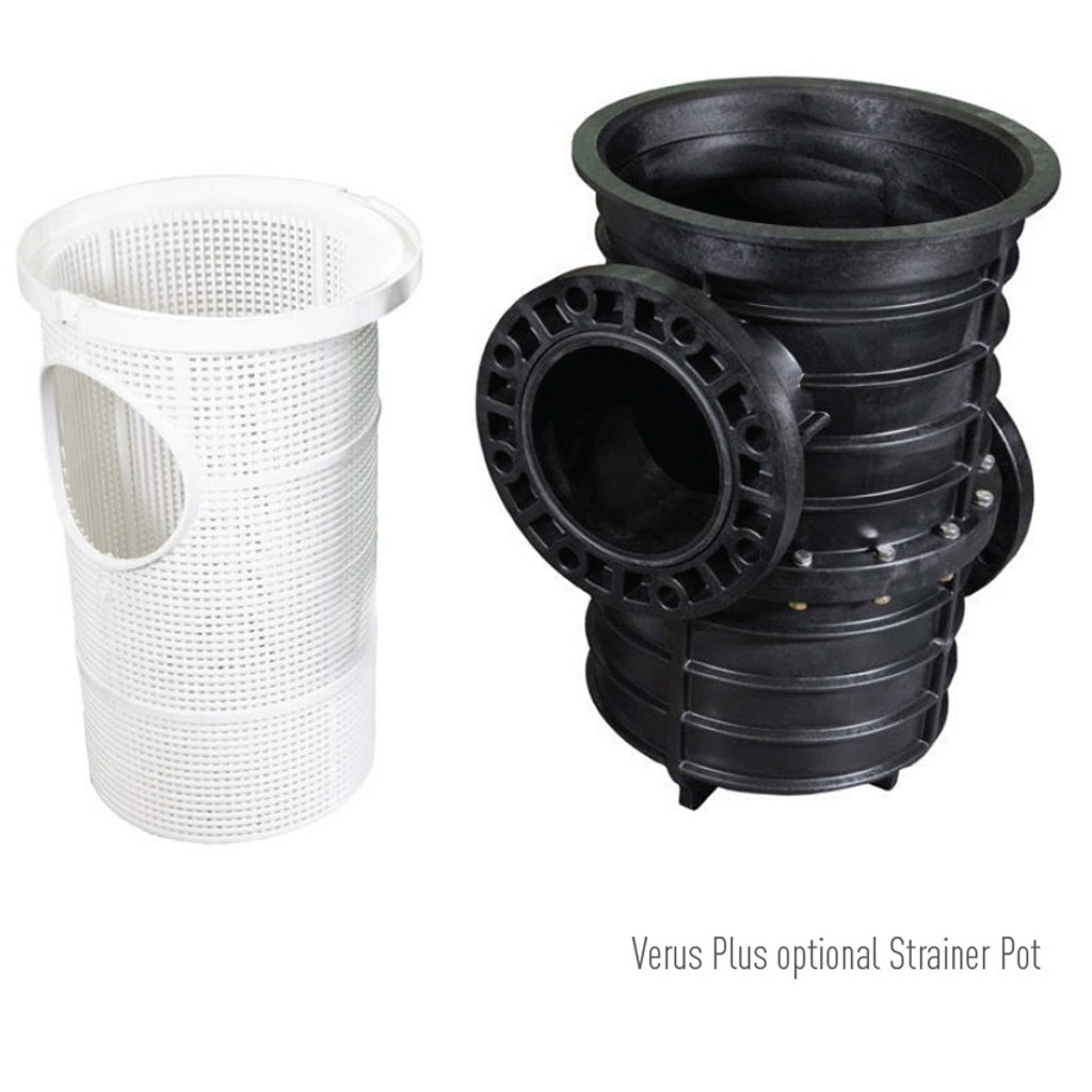 External view of strainer pot on the right, with internal basket removed to the left for viewing.  Shows upper inlet flange and lower outlet flange on reverse side.