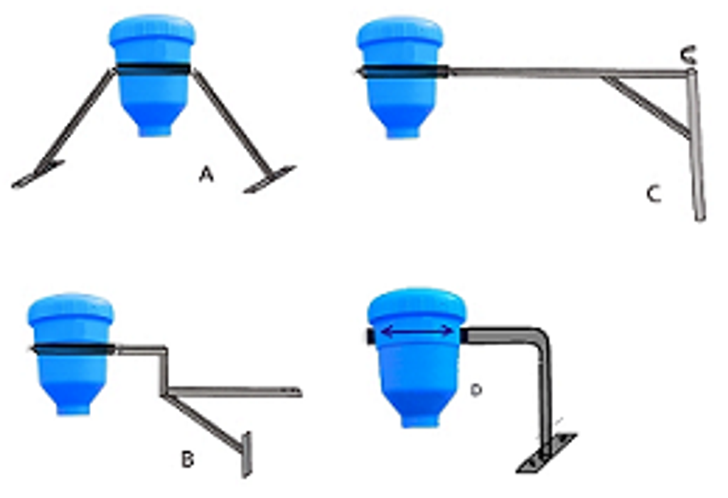 Four feeders arranged with different types of stands to show the variety of mounting options.