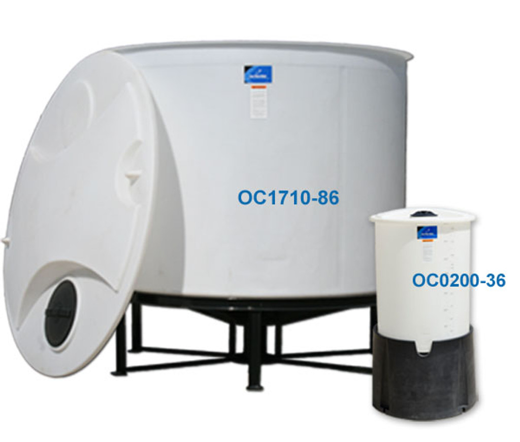 Multiple sizes of cone bottom tanks sitting on stands