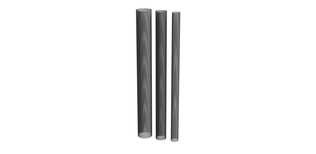 "Image showing 2"", 3"", and 4"" Mesh Tubing"
