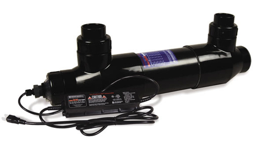 """80 Watt High Output UV shown from the side.  Photo shows 2"""" in/out ports and power supply, along with lamp connection."""
