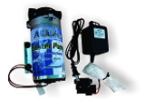 Aqua FX booster pump kit.  Displays pump, transformer, and accessories.