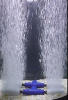 Four diffuser manifold shown in the water with bubbles running.
