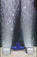 Diffuser manifold shown in water with bubbles