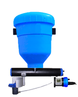 Complete feeder with 50L hopper, spreader, and drive motor.