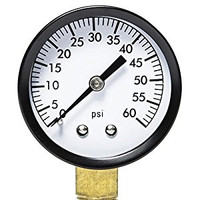 Close up view of pressure gauge.  Shows the dial with arrow and markings from 0-60