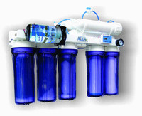 Full view of Great White RO system.  Shows all components including pump and cartridges.