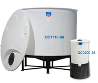 Two sizes of cone bottom poly tanks on stands