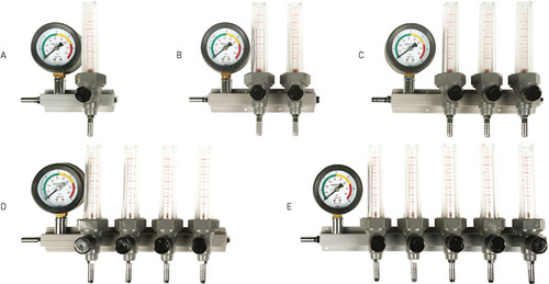 Photo showing five different sizes of oxygen manifolds