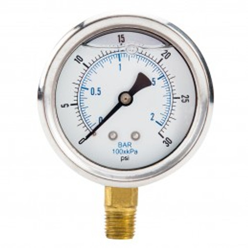 Close up of pressure gauge showing liquid fill and markings on face.