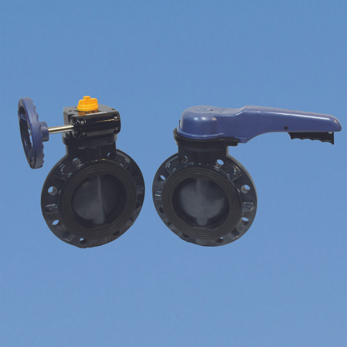 Butterfly Valves.  Left valve is gear handle, right valve is lever handle.