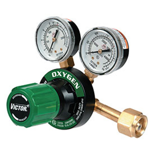 Oxygen Regulator showing adjustment knob, attachment point, and gauges.