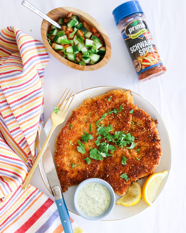 Chicken Shawarma Schnitzel With Green Dill Tahini