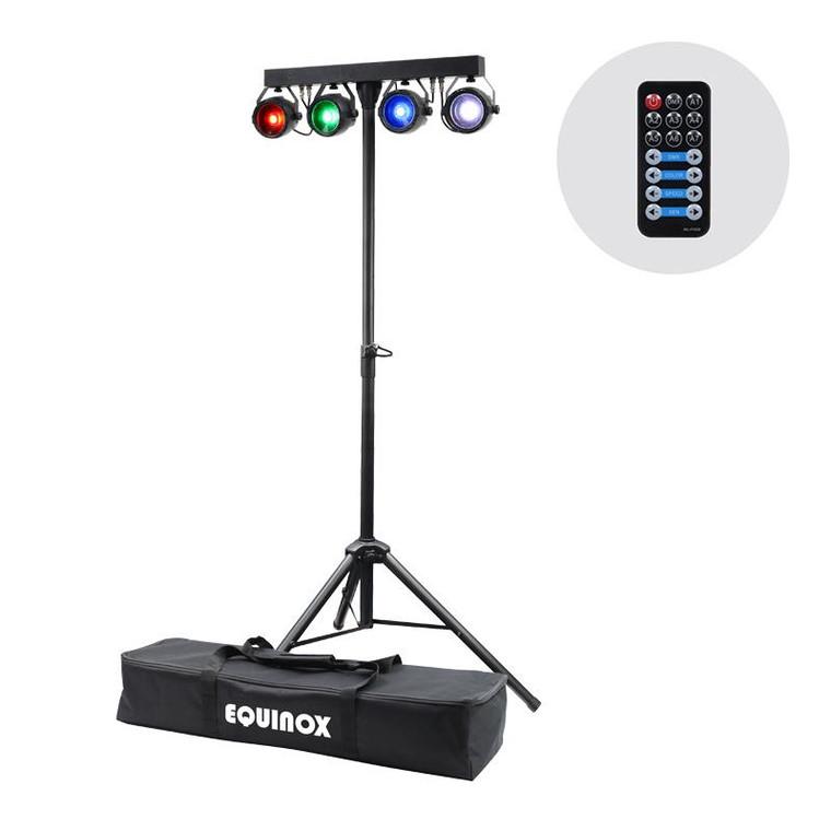 Equinox Micro T Bar RGB COB LED Four Head Lighting System with DMX Remote Stand & Bag