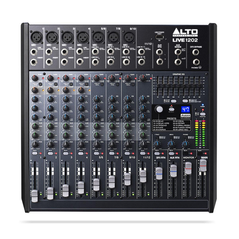 Alto Live 1202 Professional 12 Channel 2 Bus USB Mixer With 100 Alesis Digital Effects