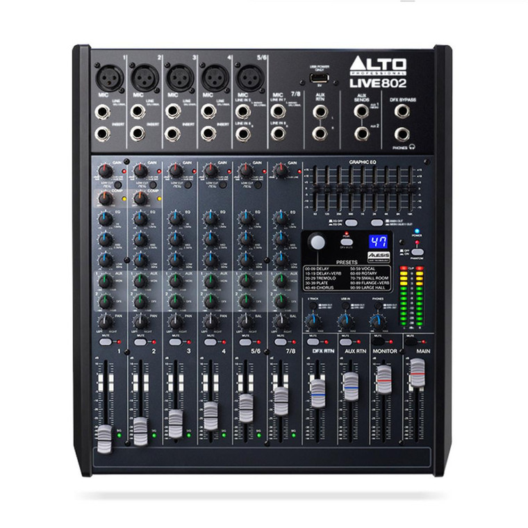 Alto Live 802 Professional 8 Channel 2 Bus USB Mixer with 100 Alesis DSP Digital Effects